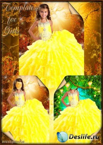 Детские костюм для девочки - Сказочное искристо-желтое платье