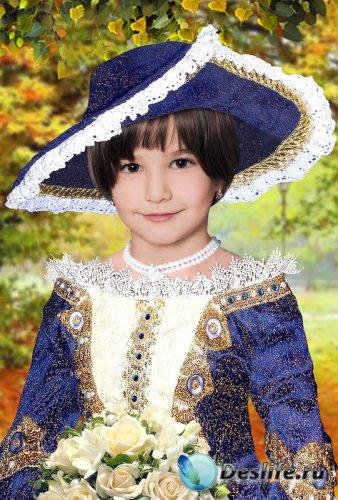 Костюм для девочек - Герцогиня в синем