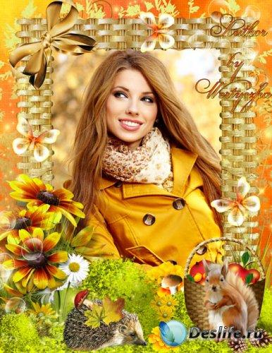 Рамка для фотошопа - Осень пришла к нам с яркими красками