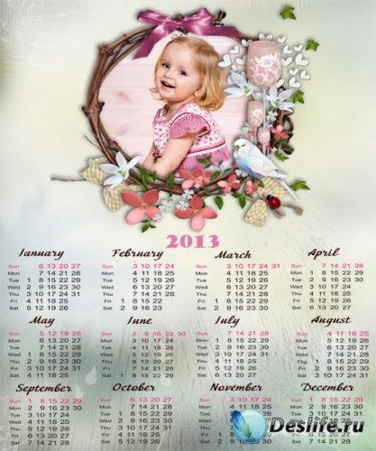 Календарь фоторамка на 2013 год  - Детские мечты