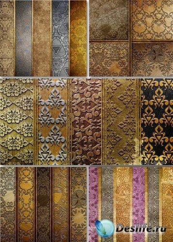 Растровый клипарт - Металлические золотистые текстуры
