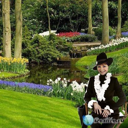 Шаблон  женский - В  тиши  сада