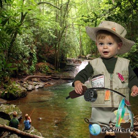 Шаблон  детский - На  рыбалке  с  друзьями