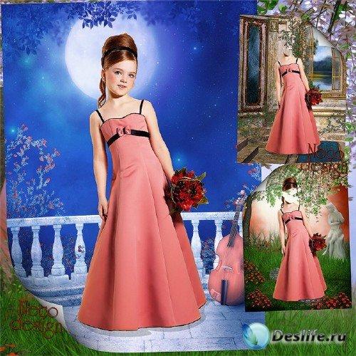 Детский костюм для девочки в розовом платье с бантиком - Лунная мелодия