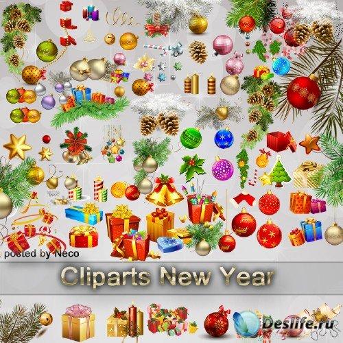 Набор новогоднего клипарта в формате PNG шарики подарки еловые ветки