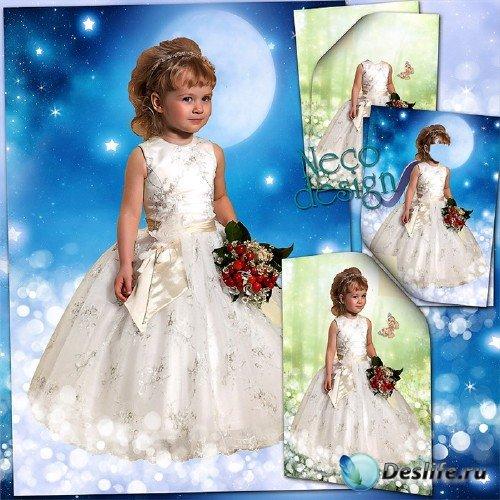 Детский костюм для маленькой девочки в белом платье с букетом - Среди звёзд
