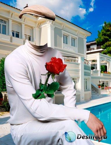 Костюм для фотошопа – Мужчина с розой в белом