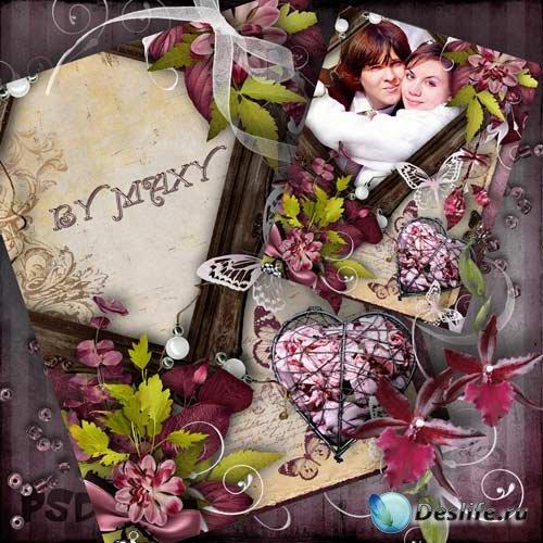 Фоторамка для влюбленных - Любовь и бабочки
