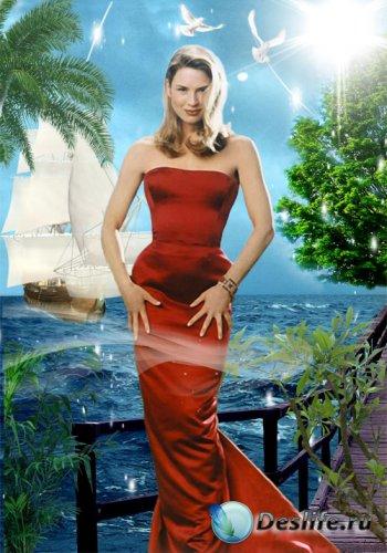 Женский костюм для фотошопа - Голубой берег
