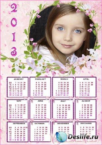 Красивый календарь - рамка для фотошопа с нежными цветами и кокетливыми бан ...