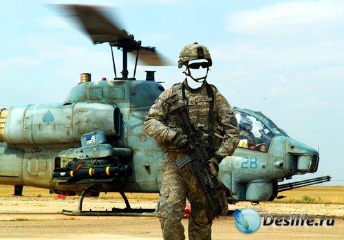 Костюм для фотошопа – Солдат с автоматом возле вертолета