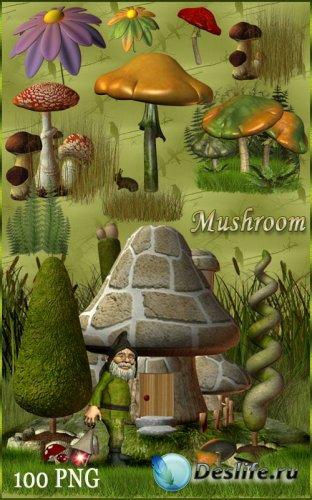 Клипарт - Цветы грибы и Гномы