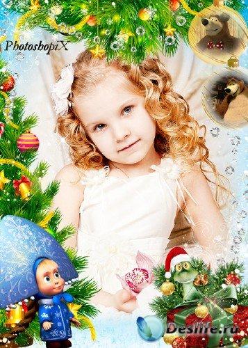 Новогодняя фоторамка для детей - Подарки от Маши и Медведя