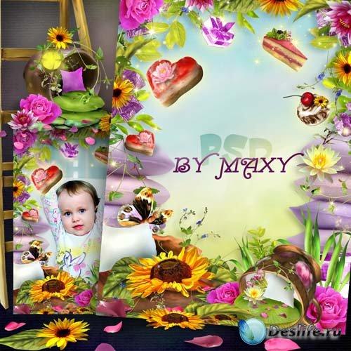 Рамка детская для фотошопа - Сладкие пожелания
