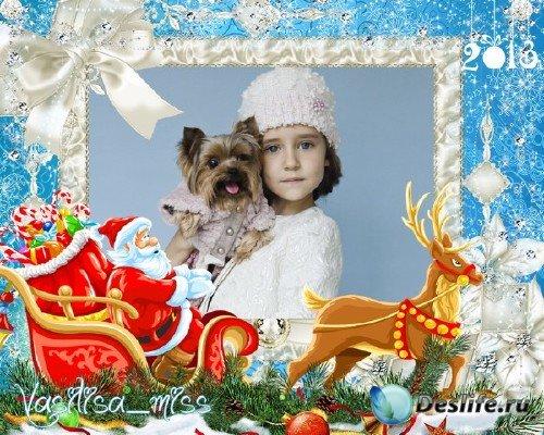 Новогодняя рамка в год змеи 2013 – Сани дедушки мороза