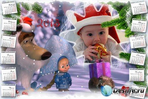 Детский календарь для Фотошопа с рамкой для фотографии - Маша и Медведь