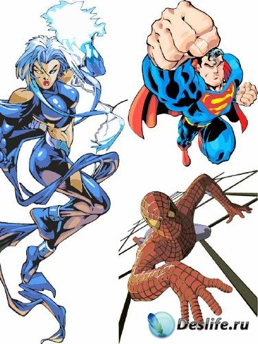 Векторные супергерои - бэтмен, женщина кошка, человек паук, супермен, x-men ...