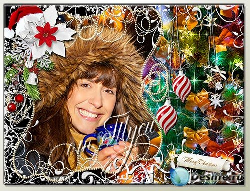 Новогодняя рамка для фото - Дарит искры волшебства Светлый праздник Рождест ...