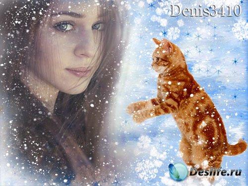 Новогодняя рамка для фотографии - Мой любимый рыжий котик