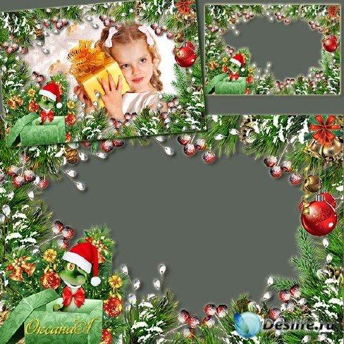Рамка для фото с еловыми ветками и змеёй – С новым 2013 годом