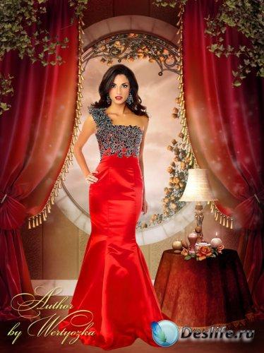 Женский костюм для фотошопа - Девушка в роскошном красном платье