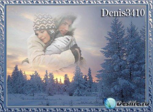 Новогодняя рамка в виде фотоэффекта - Зимний пейзаж