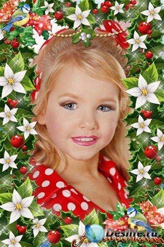 Красивая цветочная рамка - Зимняя фантазия