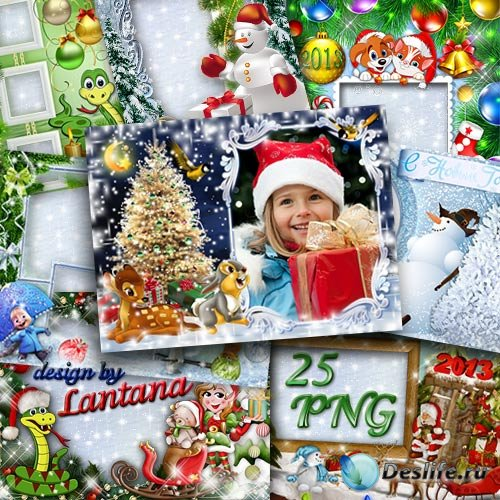 Коллекция зимних и новогодних рамочек для детей - Здравствуй, зимушка-зима