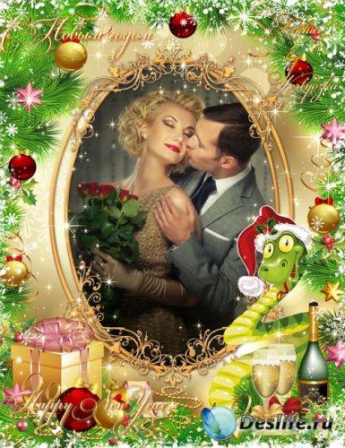 Новогодняя рамка для фотошопа - Новый год с шампанским,подарками и новогодн ...