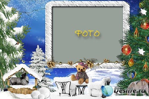 Зимняя рамка для фото – Рождественский медвежонок