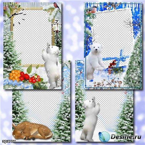 Зимние рамки для фотошопа – С лесными зверюшками