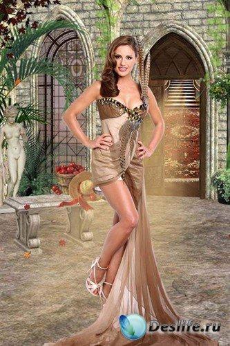 Женский костюм для фотошопа - девушка в красивом платье