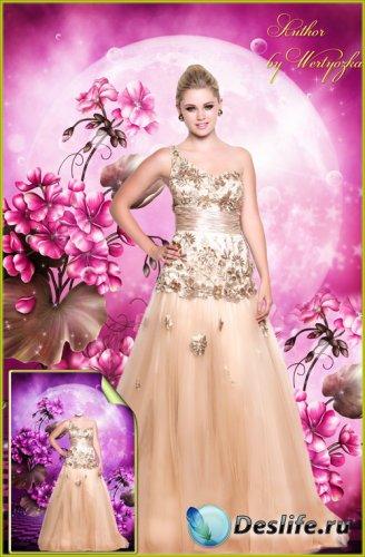 Женский костюм для фотошопа - Красивое вечернее платье, девушка в длинном п ...