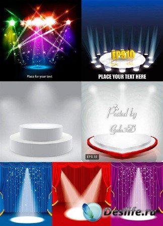 Различные световые эффекты на сцене в векторном формате