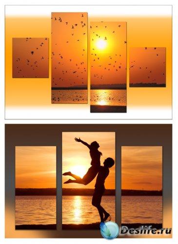 Триптихи и полиптихи в psd формате - Чарующий морской закат, влюбленная пар ...