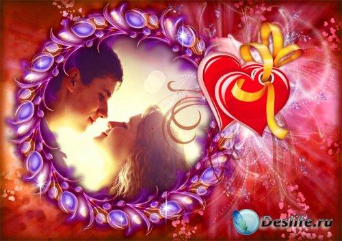 Романтическая фоторамка Сияющие сердца 1