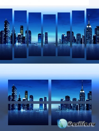 Полиптихи в psd формате - Ночной город, огни большого города