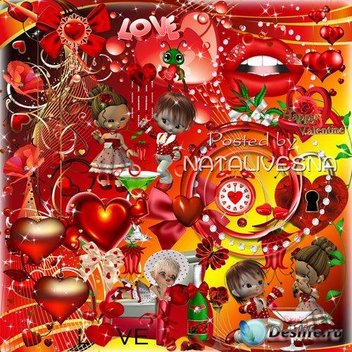 Клипарт в PNG – Романтичные сердечки, куколки и бантики
