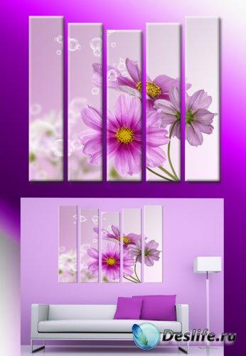 Полиптихи в psd формате - Картина с цветами, сиреневые цветы