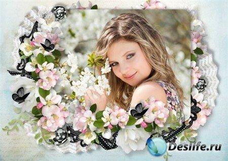 Романтическая рамка для фото - Весенний сад