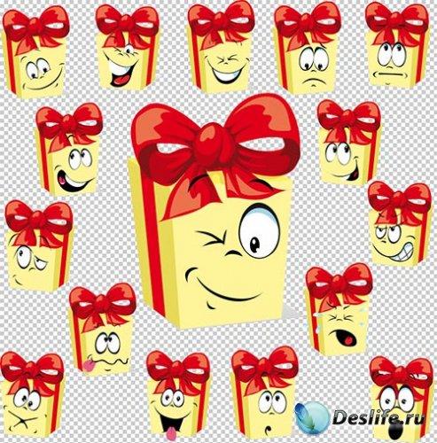 Клипарт -  Подарочные упаковки с выражением эмоций (прозрачный фон)