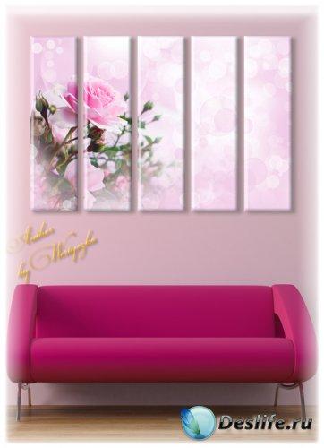 Полиптихи в psd формате - Нежные розы, розовые розы, цветы, картина с цвета ...