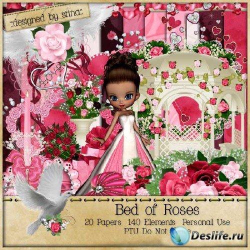 Цветочный скрап-набор в розовых тонах для девочек- Постель из роз