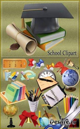 Детский школьный скрап-набор - Школьные предметы