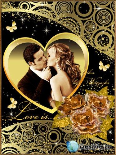 Любовь, романтика и золотые розы - Рамка для фотошопа