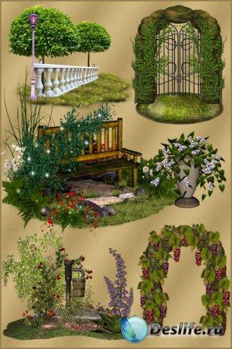 Клипарт PNG - Арки деревья и цветы