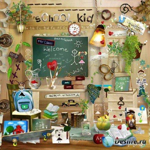 Детский школьный скрап-набор - Школьники