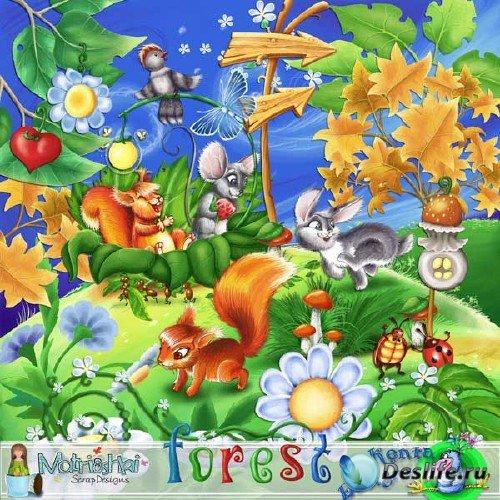 Детский сказочный скрап-набор - Лес