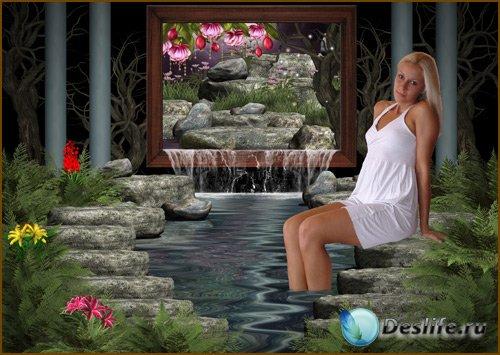 Женский костюм для фотошопа - Мечта у водного оазиса