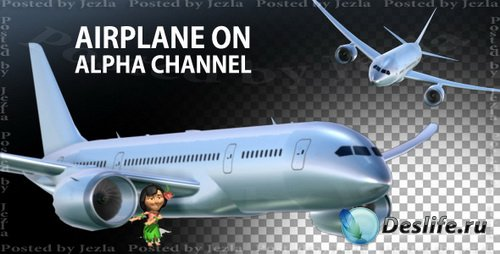 Футажи: Airplane On Alpha Channel